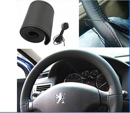 WISE TRAVEL Car Steering Wheel Cover Hole-Digging Breathable Slip-resistant, Handmade of Sew cover DIY Steering Wheel Cover