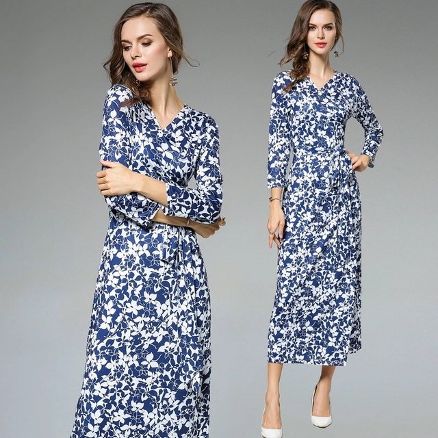 Women Floral China Flower Print Evening Party Dress Girl Winter