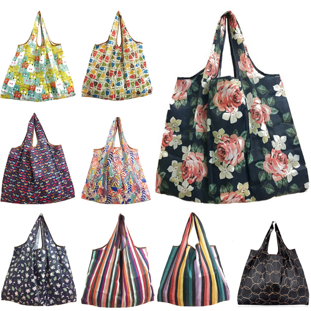 Printed Foldable Recycle Shopping Bag Eco Reusable Shopping Tote Bag Square Cartoon Floral Fruit Vegetable Grocery Organizer Bag
