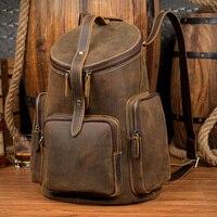 Crazy Horse из натуральной кожи рюкзак Для женщин Бочкообразная дорожная сумка старинные кожаный рюкзак mochila de couro masculina feminina