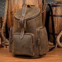 LAPOE Brand Women Backpack Cowhide Genuine Leather Vintage Daypack Casual Barrel Shaped Travel Bag Male