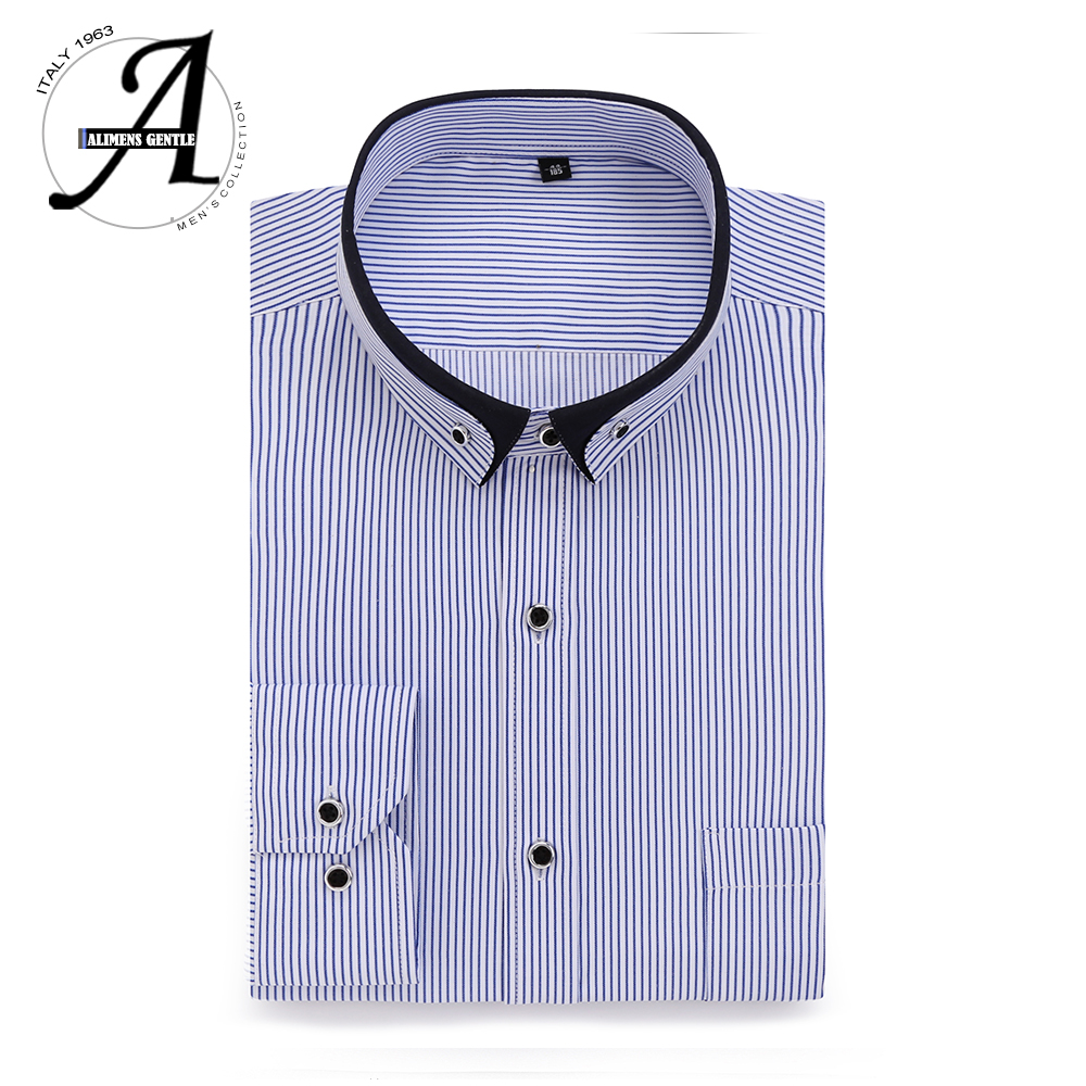 Alimens & Gentle Mens Dress Shirt High Cotton Long Sleeve Easy Care Slim Fit Solid Office Shirt For Men Chemise Homme 2017
