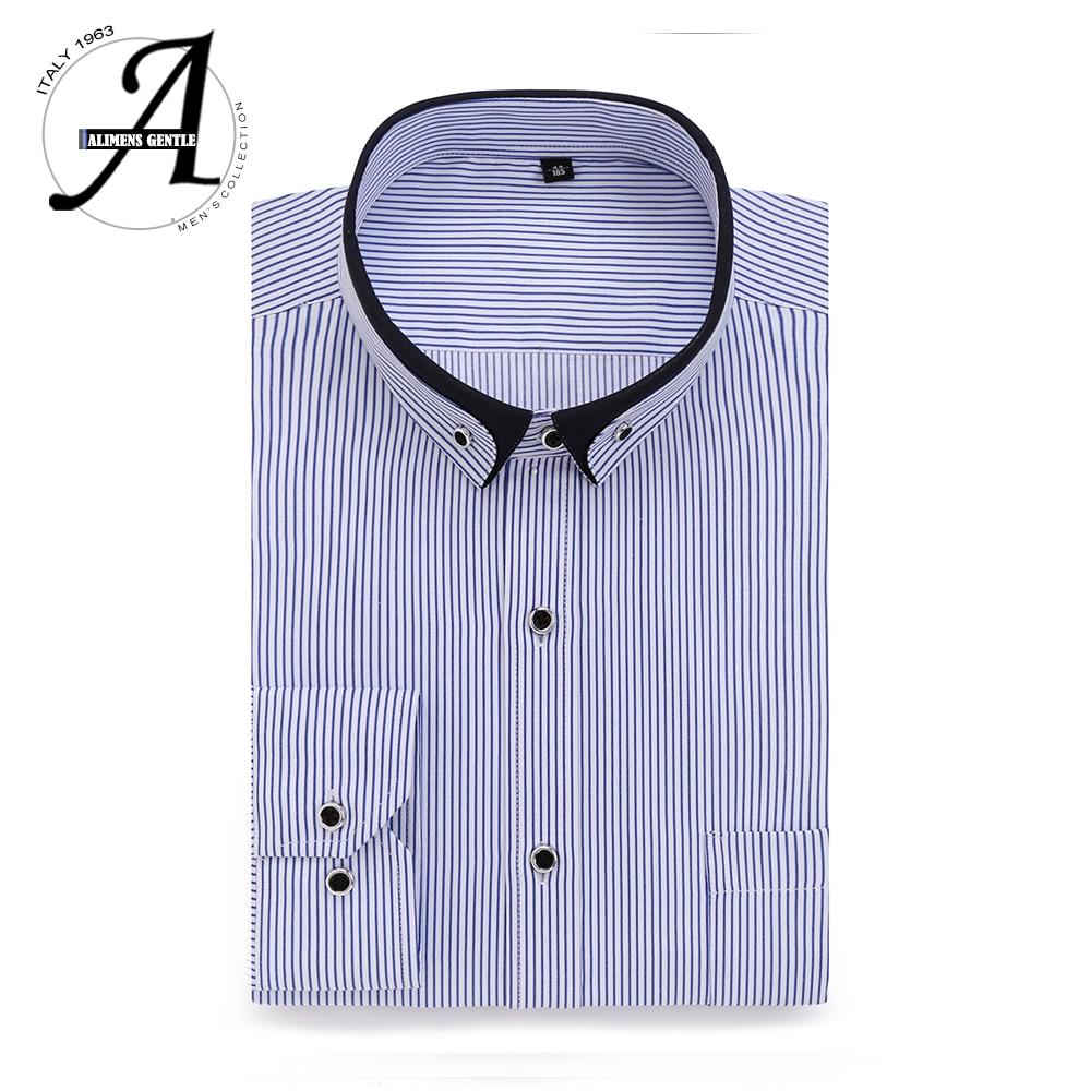 Alimens & Gentle Mens Dress Shirt High Cotton Long Sleeve Easy Care Slim Fit Solid Office Shirt For Men Chemise Homme 2017