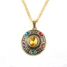Мода Мстители 4 Thanos Бесконечность Gauntlet мощность колье ожерелье с шестью Золотая цепь с кристаллом кулон ожерелье Женщины Мужчины ювелирные изделия