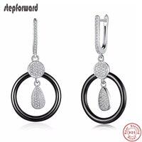 Handmade Full Zircon Drop Accessories 925 Sterling Silver Big Black Round Ceramic Hanging Earrings Korean Eearings