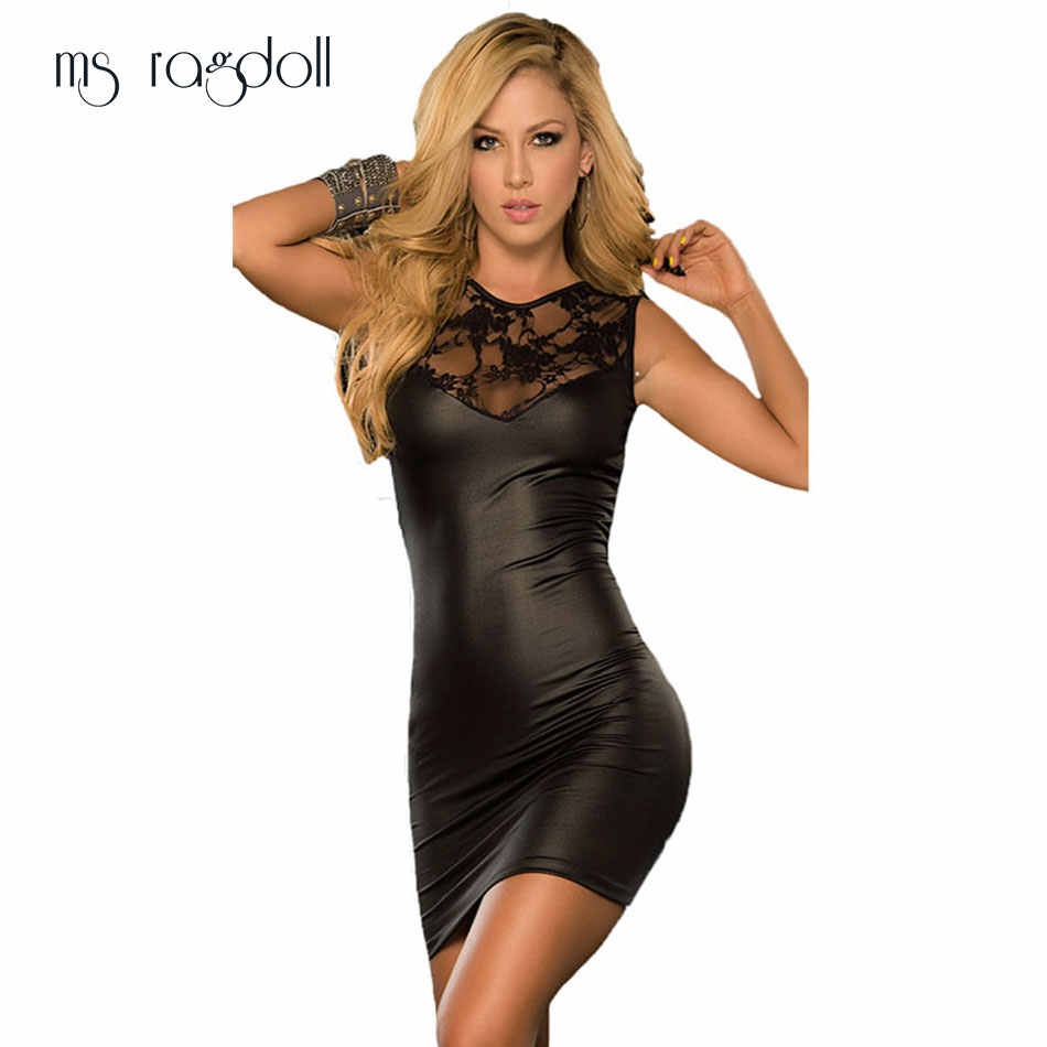 aadbf5f15af Detail Feedback Questions about New 2018 Tight fitting Sexy Lace Mini Dress  Slim Wet Look Fetish Bondage Vinyl Fitness black dress Leather Bodycon  Vestidos ...