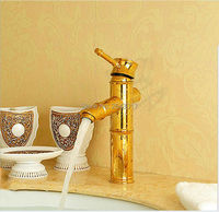 Wholesale And Retail Basin Golden Faucet Bambus Faucet Bathroom Sink Vanity Faucet Deck Mounted Hot And