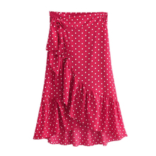 где купить Women Sweet Polka Dots Print Wrap Skirt Ruffles Bow Tie Sashes Female Casual Chic Red A Line Skirts FFZBQ52 дешево