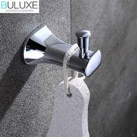 BULUXE Brass Bathroom Accessories Wall Hanger Chrome Finished Robe Hook Bath Acessorios de banheiro HP7716