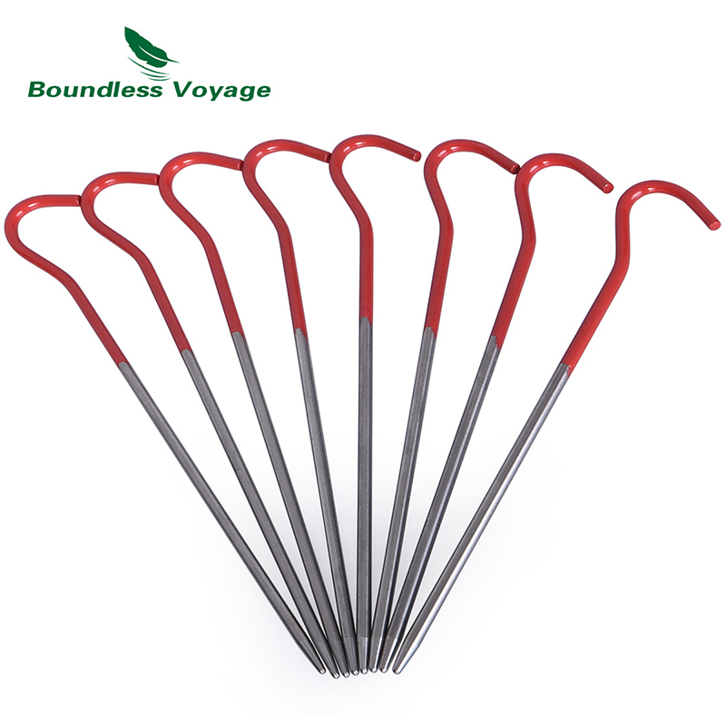 Boundless Voyage 8 12 pcs lot Titanium Alloy Pegs Outdoor Camping Tent Stakes Portable Elbow Grass Tent Nail Ti1525B in Tent Accessories from Sports Entertainment