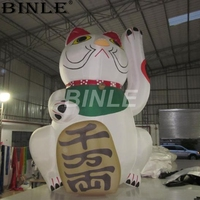 Hot sale 5m 16ft advertising outdoor inflatable lucky cat inflatable mascot fortune cat cartoon decoration
