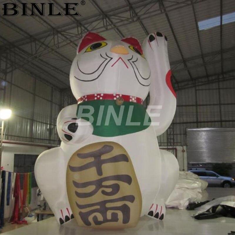 Offre spéciale 5 m 16ft publicité extérieure gonflable chat chanceux mascotte gonflable fortune chat dessin animé décoration
