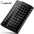 CONTACT'S Wallet Women Luxury Brand Short Genuine Leather Female Purse Card Holder Weaving Small Lady Clutch Dollar Price 2017