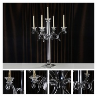 Crystal Candle Holders 5 Arms Stand Glass High Quality Pillar For Wedding Portavelas Candelabra 24 design