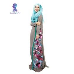 026 новый стиль в Дубае Женский цветочный принт халат сращенный халат женские мусульманские платья одежда халат турецкий abaya vestidos musulmanes