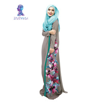 New 2015 Winter New Fashion Style Muslim Abaya Printing Flowers Women Clothing Islamic Beautiful High Quanlity