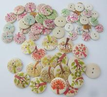 WBNNLK 100pcs nature wood buttons printed kids clothes button sewing supplies