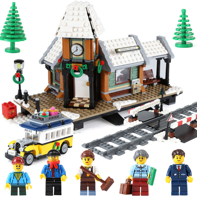 Lepin 36011 Genuine 1010Pcs Creative Series The Winter Village Station Set Building Blocks Bricks Educational Toys As Boy`s Gift lepin 36010 genuine creative series the winter village market set legoing 10235 building blocks bricks educational toys as gift