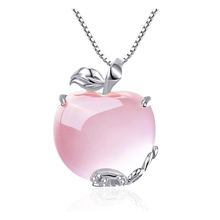 Ruifan Apple Natural Rose Quartz White/Rose Gold 925 Sterling Silver Fashion Woman Pendants Box Chain Necklaces Jewelry YNC092 квантик 7 июль 2013
