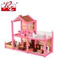 Новый миниатюрный розовый кукольный дом из пластика для девочек