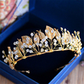 Gold Leaf Baroque Tiara Headband Flower Crown Hair Jewelry Bridal Hairband Headpiece Hair Band Wedding Hair Accessories WIGO0982