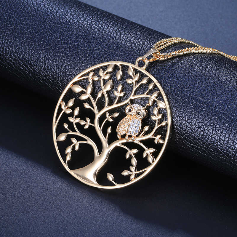 Necklace Women Statement Fashion  Jewelry 2018 Big Tree Of Life Owl Pendant Silver Gold Layered Chain Long Necklaces & Pendants