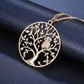 Collar de la Declaración de las mujeres joyería de moda 2018 Árbol de la vida con colgante de búho de plata de oro largo capas cadena collares y colgantes