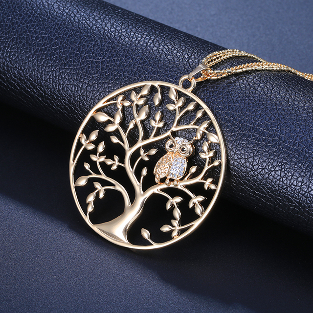 Necklace Women Statement Jewelry 2018 Fashion Tree Of Life with Owl Pendant Silver Gold Long Layered Chain Necklaces & Pendants