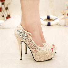 NEW European Brand Ladies Sexy Rhinestone Lace Wedding Shoes High Heels Platform Pumps for women sapatos femininos 35-41 30411