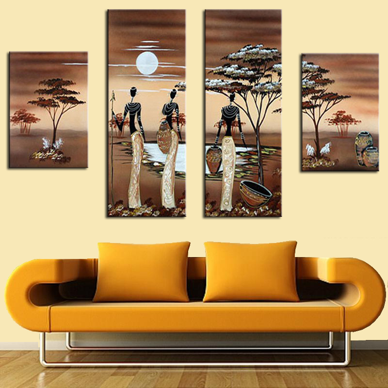 Aliexpress  Buy 4pcs Abstract African Landscape Oil Painting - living room canvas art