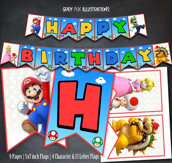 Super Mario Bros Banner Baby Shower Birthday Party ...