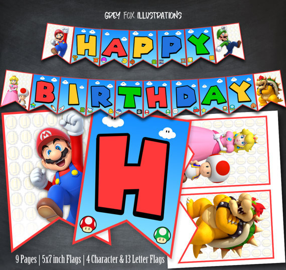 Super Mario Bros Banner Baby Shower Birthday Party Decorations Kids Supplies And Luigi Flags Candy Bar