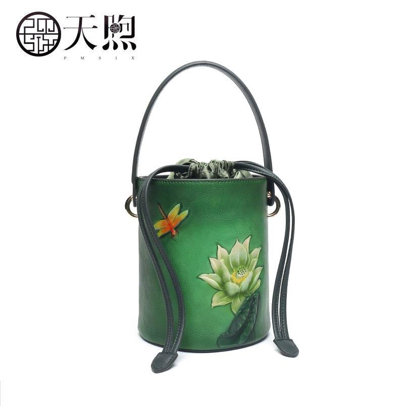2017 New Pmsix Superior Genuine Leather bag fashion Embossed Round bucket bag tote women leather shoulder women's bag все цены