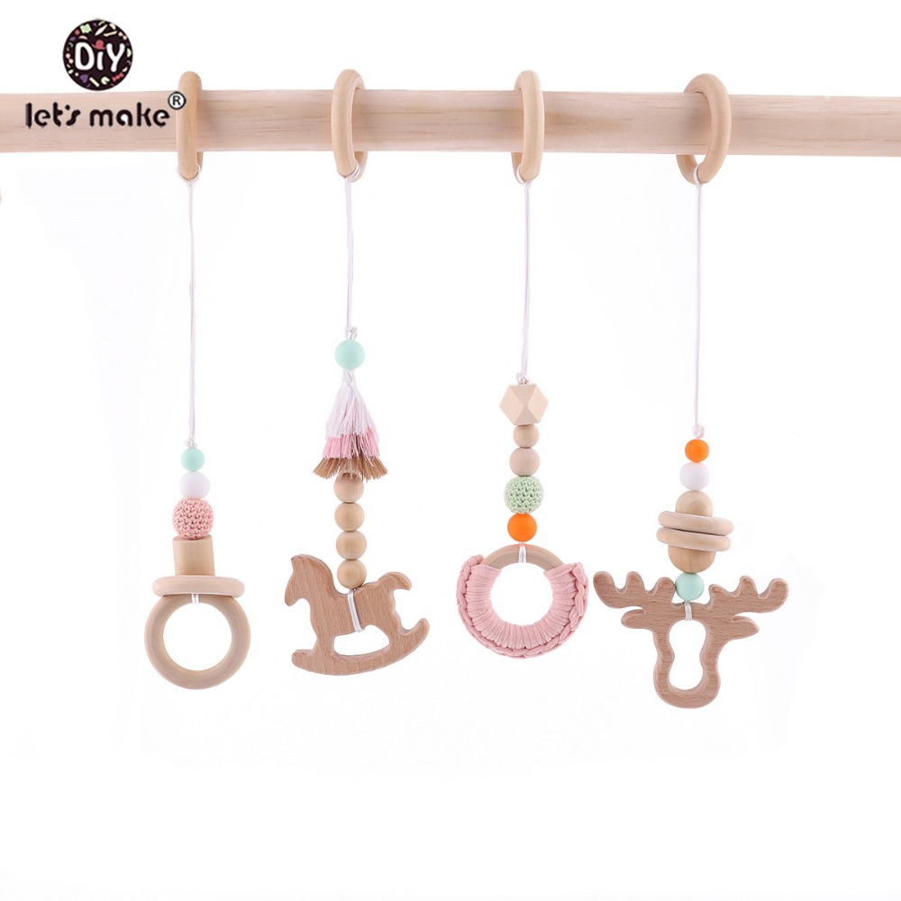 Wooden Baby Teether 4Pcs Baby Play Gym Stroller Toy Chew Silicone Beads Teething