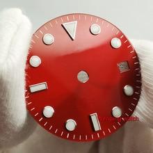 ساعة بليجر 28.5 مللي متر بدون شعار مضيئة نافذة التاريخ ساعة حمراء ساعة معصم ايتا 2824 2836 ميوتا 8215 821A Mingzhu DG2813 حركة آلية