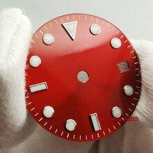Bliger montre avec cadran de montre rouge, sans logo, date lumineuse, 28.5mm, ETA 2824, 2836, miotta 8215, 821A, Mingzhu DG2813, mouvement automatique