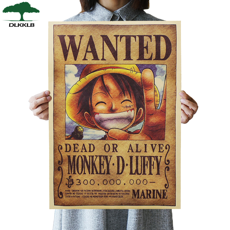 DLKKLB Home Decor Wall Stickers  One Piece Posters Luffy Wanted Vintage Kraft Paper Anime PosterBar Decor Paintings 51 X 35cm