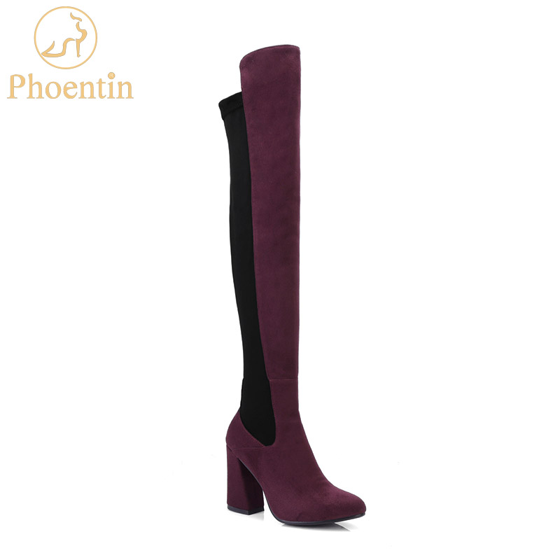 Haute Talon Mince Zipper Chaussures Noir gris Vin Troupeau Overknee Extensible Femmes Phoentin 2018 Ph068 Rouge Sabot Bottes vin Patchwork Lycral K135TcFJul