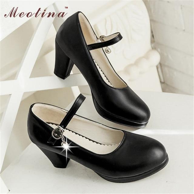 Meotina Women Shoes Size Big Size 40 Ladies Mary Jane Pumps Round Toe Platform Chunky High Heels Rhinestone Shoes Black White