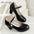 Meotina mulheres sapatos tamanho grande tamanho 40 senhoras mary jane bombas Plataforma Dedo Do Pé Redondo Saltos Altos Grossos Sapatos de Strass Preto branco