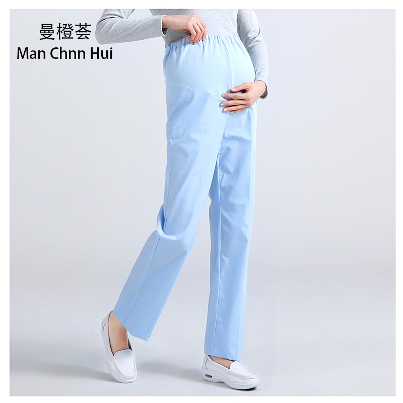 7fb05bfcc32 Hospital nurse maternity pants medical pink white elastic waist work pants  female doctor pregnant women pants-in Scrub Tops   Bottoms from Novelty    Special ...