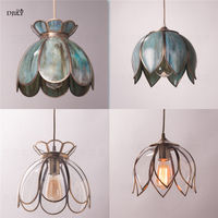 European lotus metal glass pendant lights retro artistic hanging lamp for coffee store dining room home deco kitchen fixtures