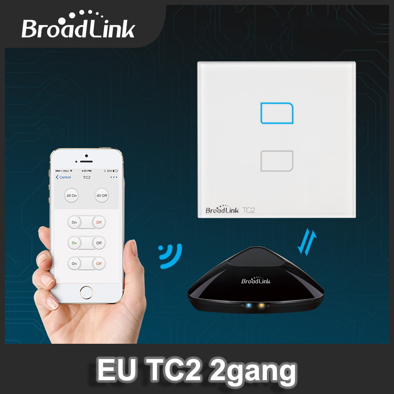 BroadLink TC2 EU/Uk Standard 2Gang 1 Way Wifi Controlled Touch Light Switch with Free APP for iOS and Android Smart Phone детская игрушка new wifi ios