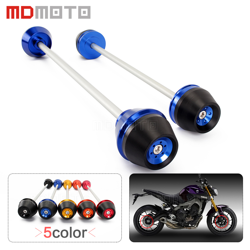 For Yamaha MT09 MT-09 FZ09 2014-2015 Motorcycle accessories Front & Rear Axle Fork Wheel Protector Crash Sliders Cap Pad stand new style balance shock front fork brace for yamaha mt07 fz07 mt 07 fz 07 2014 2015 2016 motorcycle accessories cnc aluminum