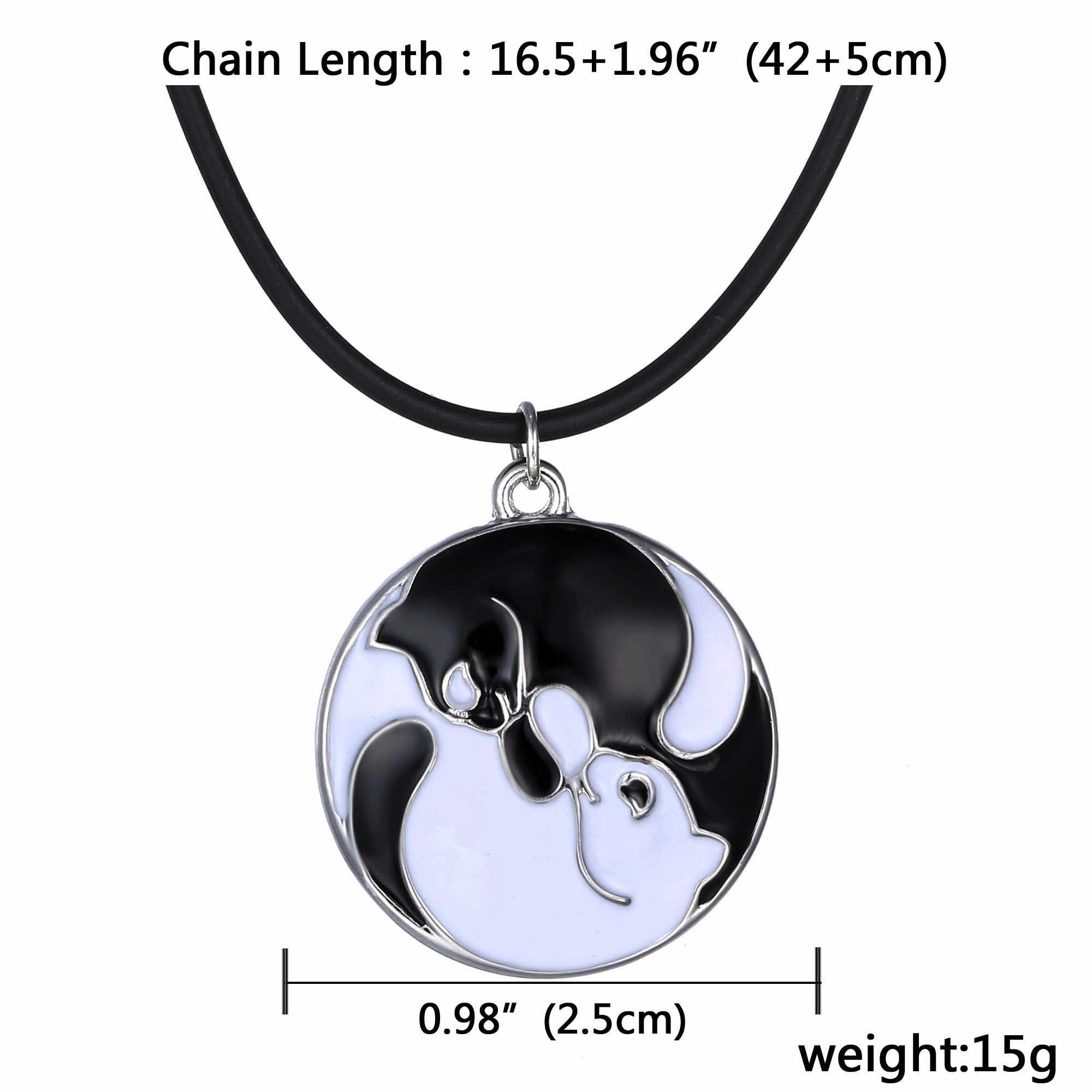 Rinhoo pary biżuteria zwierząt naszyjniki złoty kolor srebrny naszyjnik dla par tytanu stali kot naszyjnik chłopiec i dziewczyna przyjaciel prezenty