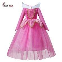 Обувь для девочек спальный Красота принцессы маскарадное нарядное платье с длинными рукавами Аврора Костюм Костюмы детское платье-пачка для Рождество