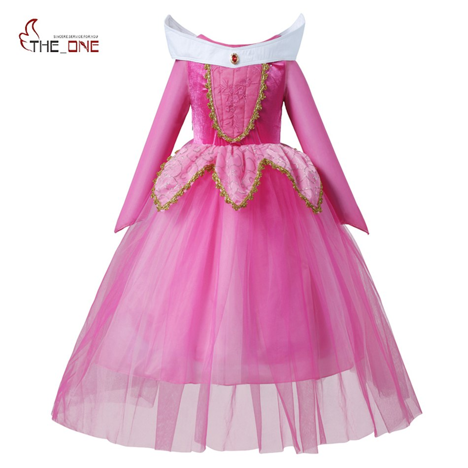 MUABABY Girls Sleeping Beauty Dress Up Clothes Children Long Sleeve Aurora Princess Costume Girl Christmas Cosplay Party Dress