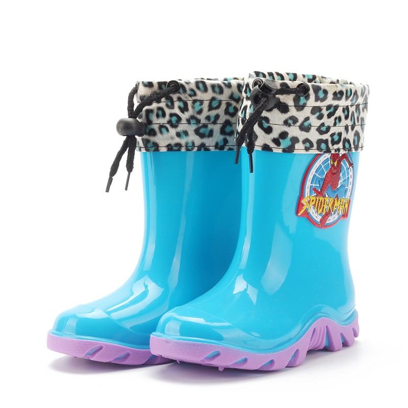 2016 Winter <font><b>Rain</b></font> <font><b>Boots</b></font> Waterproof Shoes Warm Boys Girls <font><b>Kids</b></font> <font><b>Spiderman</b></font> Blue Red Children Rubber <font><b>Boots</b></font> for <font><b>Rain</b></font>(Little/Big <font><b>Kid</b></font>)