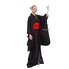 Rolecos Japanese Kimono Women Traditional Black Yukata Cosplay Costumes Obi Belt Evening Dresses