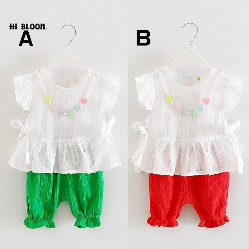 Детское подарок дня летняя хлопковая детская одежда Наборы для ухода за кожей топ + Брюки для девочек Платье для маленьких девочек цветочны...